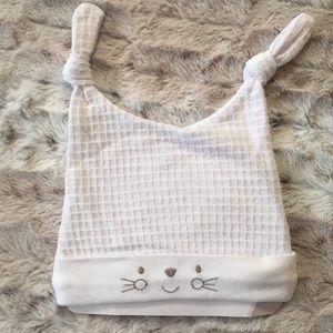 NEW Cute Waffle Knit Bunny Hat Tie Ears Baby 6-9